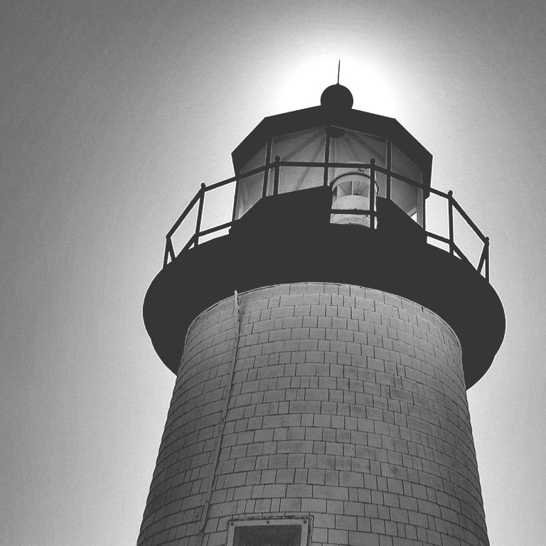 Black and white image of a lighthouse